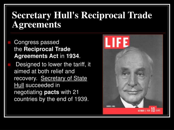 Secretary Hull's Reciprocal Trade Agreements