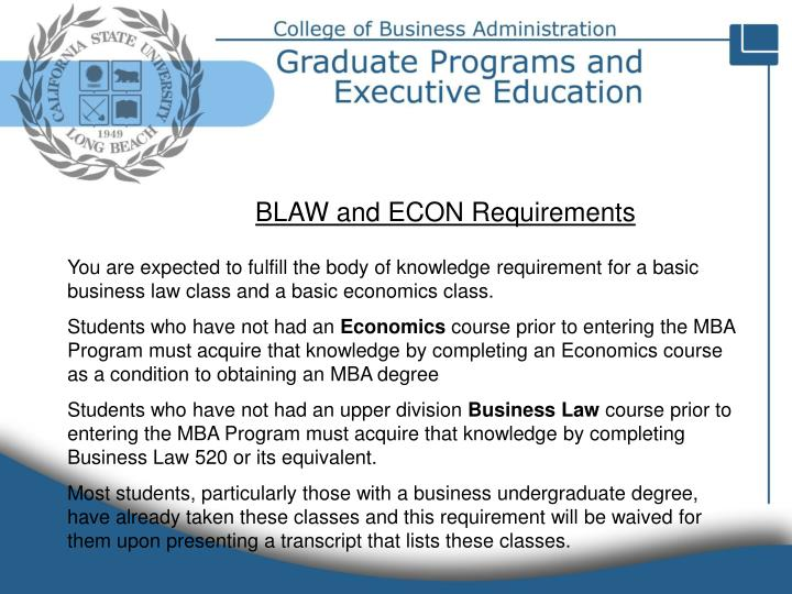 BLAW and ECON Requirements