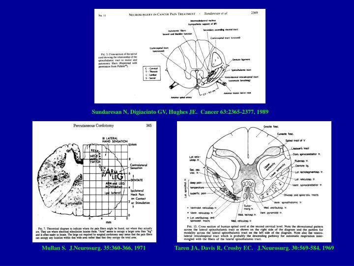 Sundaresan N, Digiacinto GV, Hughes JE.  Cancer 63:2365-2377, 1989