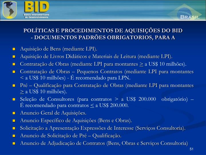 POLTICAS E PROCEDIMENTOS DE AQUISIES DO BID
