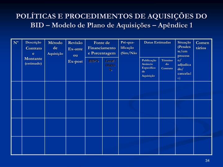 POLÍTICAS E PROCEDIMENTOS DE AQUISIÇÕES DO BID – Modelo de Plano de Aquisições – Apêndice 1