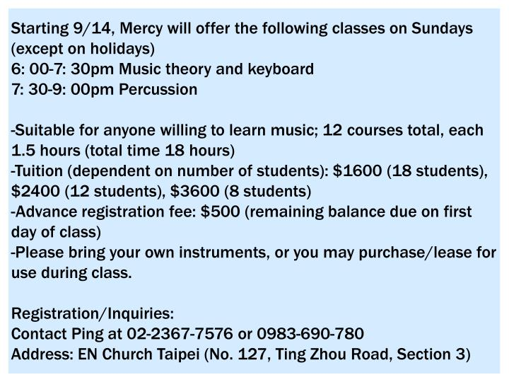 Starting 9/14, Mercy will offer the following classes on Sundays (except on holidays)