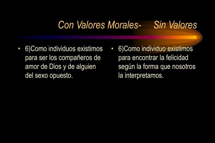 6)Como individuos existimos para ser los compañeros de amor de Dios y de alguien del sexo opuesto.