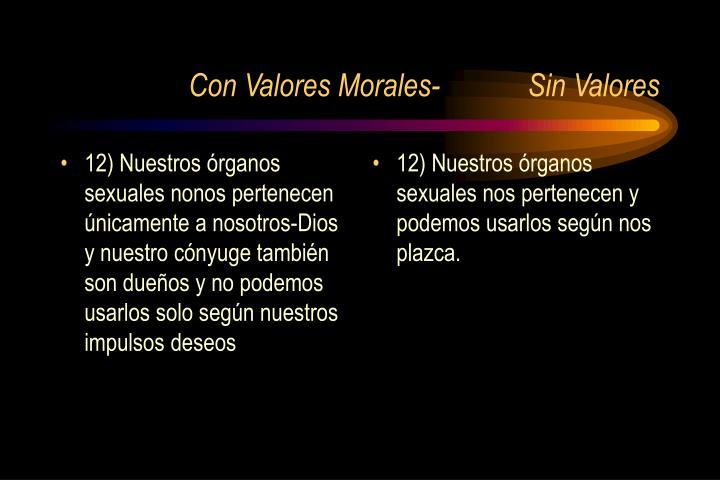 12) Nuestros órganos sexuales nonos pertenecen únicamente a nosotros-Dios y nuestro cónyuge también son dueños y no podemos usarlos solo según nuestros impulsos deseos