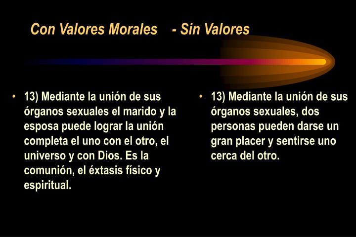 13) Mediante la unión de sus órganos sexuales el marido y la esposa puede lograr la unión completa el uno con el otro, el universo y con Dios. Es la comunión, el éxtasis físico y espiritual.