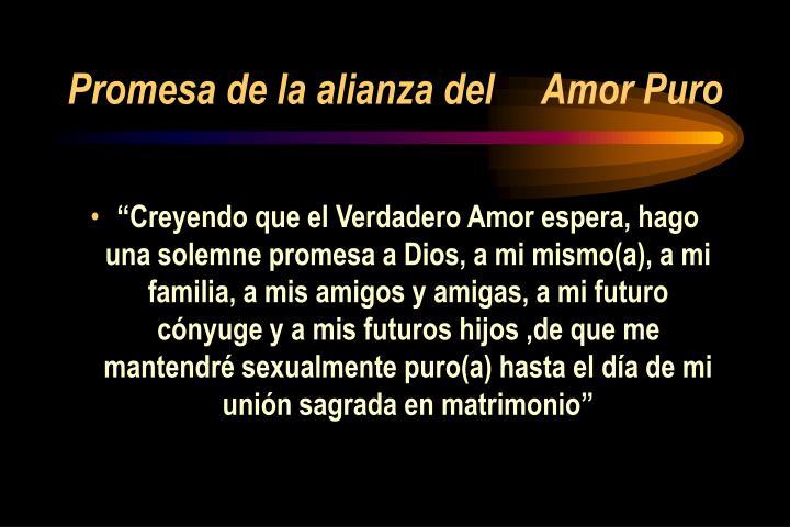 Promesa de la alianza del     Amor Puro