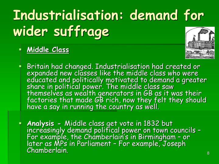 Industrialisation: demand for wider suffrage
