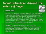 industrialisation demand for wider suffrage