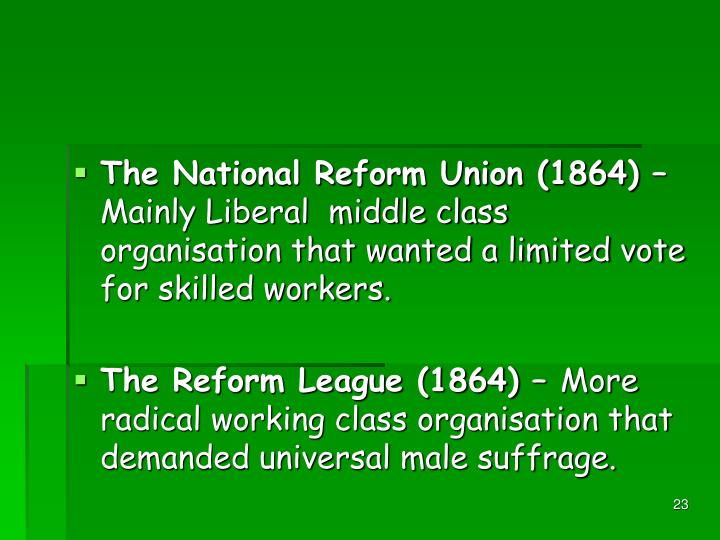 The National Reform Union (1864) –