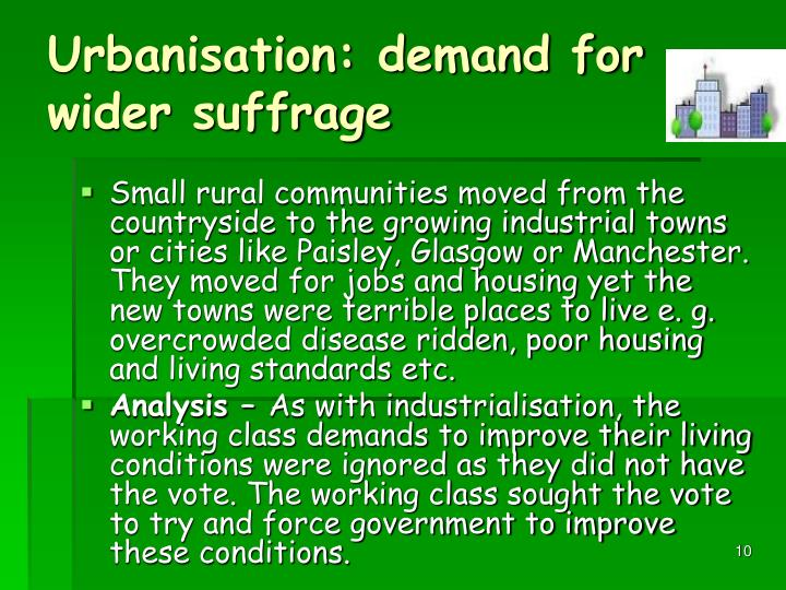 Urbanisation: demand for wider suffrage