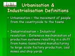 urbanisation industrialisation definitions