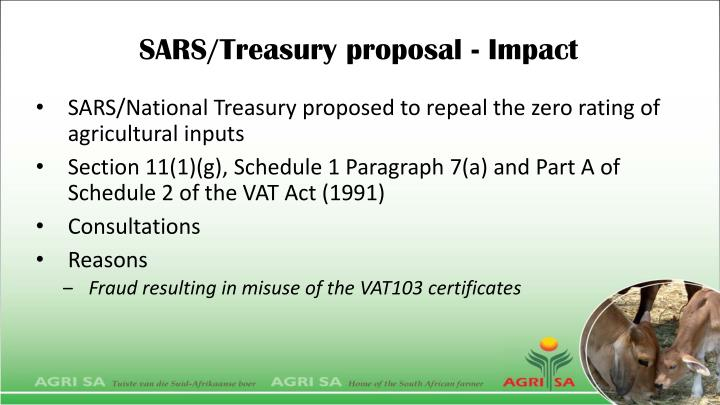 SARS/Treasury proposal - Impact