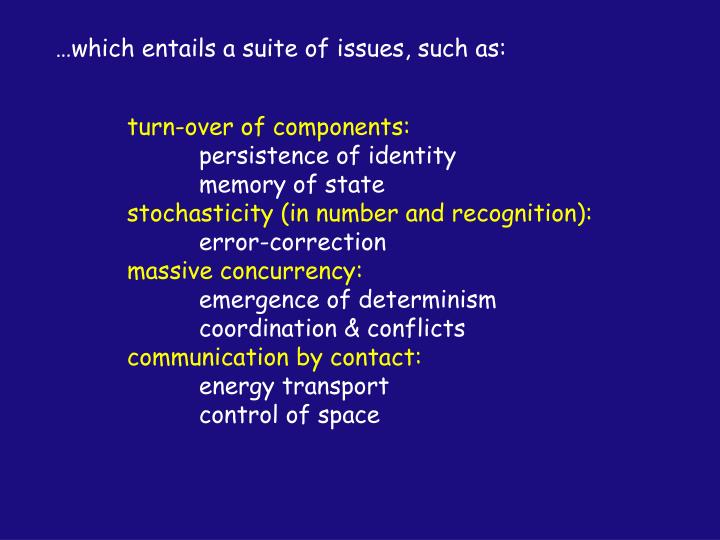 …which entails a suite of issues, such as:
