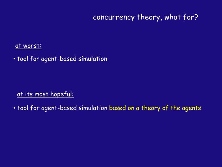 concurrency theory, what for?