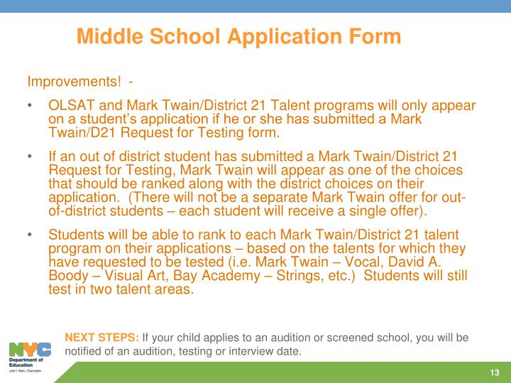 Middle School Application Form