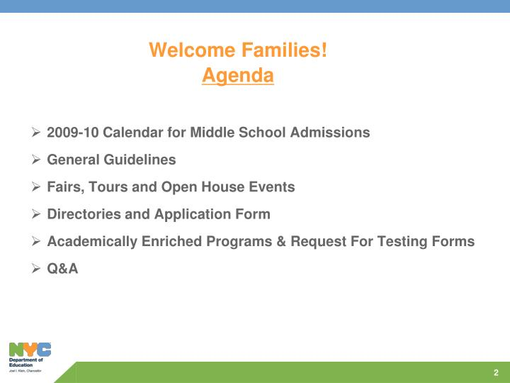 Welcome families agenda