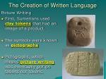 the creation of written language