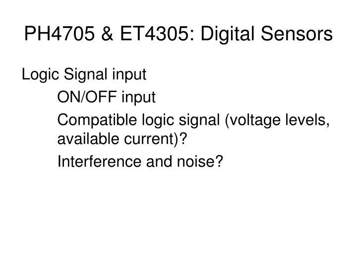 PH4705 & ET4305: Digital Sensors