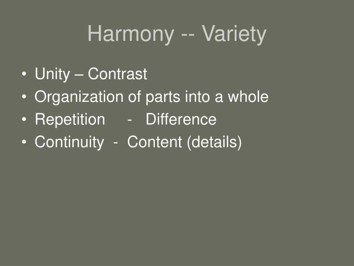 Harmony -- Variety