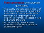 public governance and corporate governance