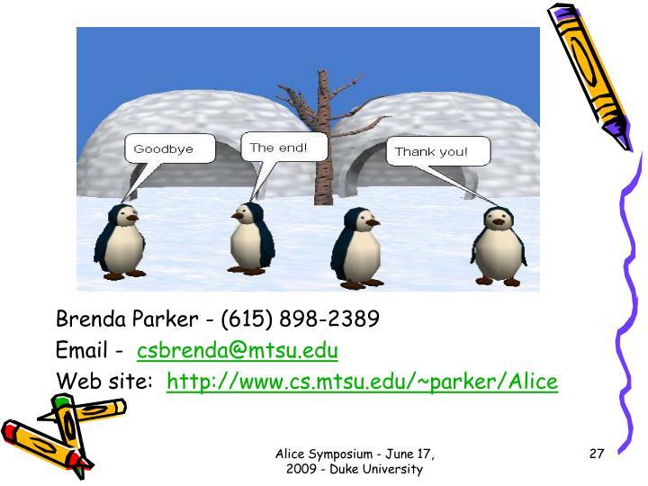 Brenda Parker - (615) 898-2389