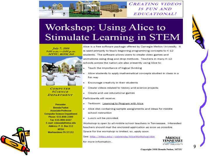 Alice Symposium - June 17, 2009 - Duke University