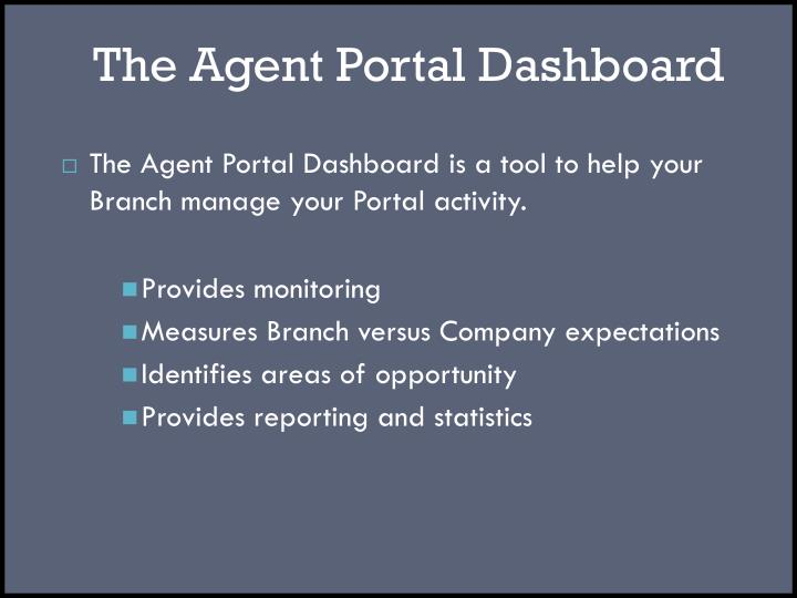 The agent portal dashboard