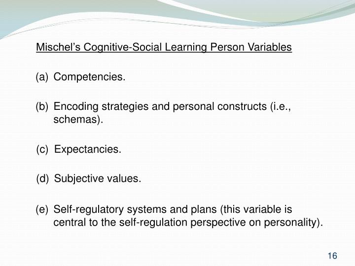 Mischel's Cognitive-Social Learning Person Variables