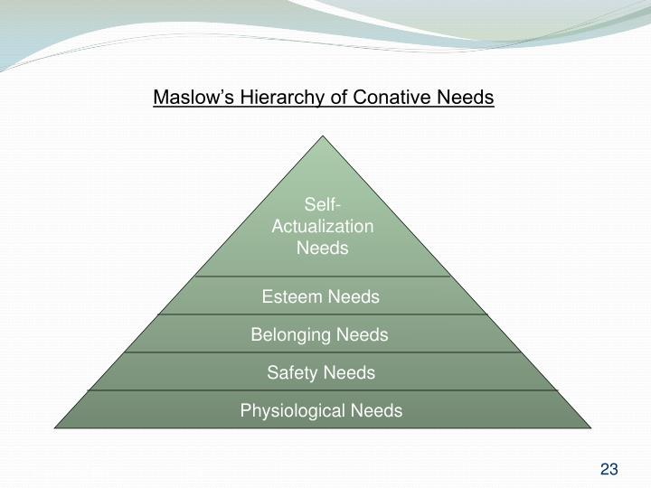 Maslow's Hierarchy of Conative Needs
