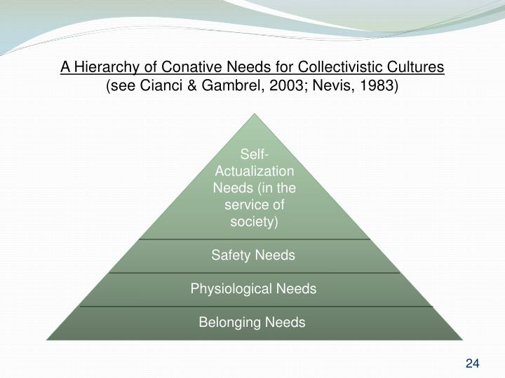 A Hierarchy of Conative Needs for Collectivistic Cultures