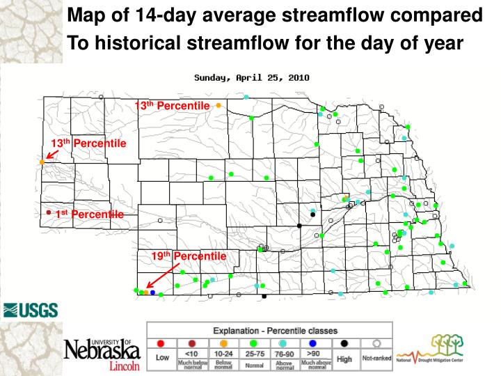 Map of 14-day average streamflow compared