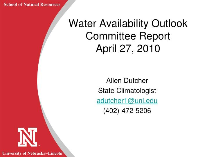 Water Availability Outlook Committee Report