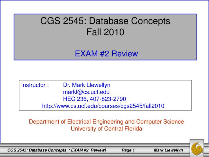 CGS 2545: Database Concepts