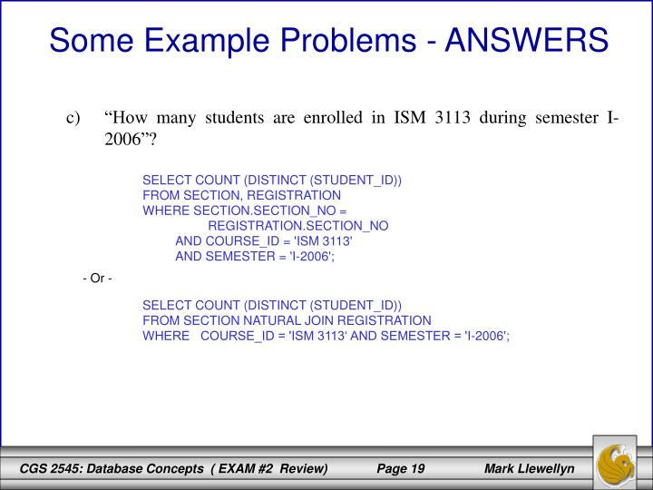 Some Example Problems - ANSWERS
