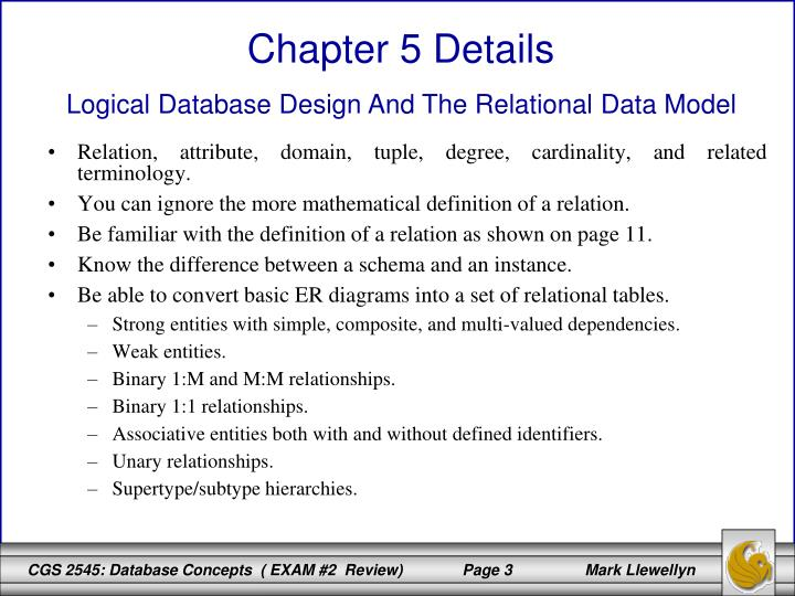 Relation, attribute, domain, tuple, degree, cardinality, and related terminology.