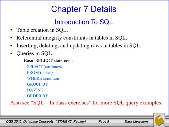 Table creation in SQL.