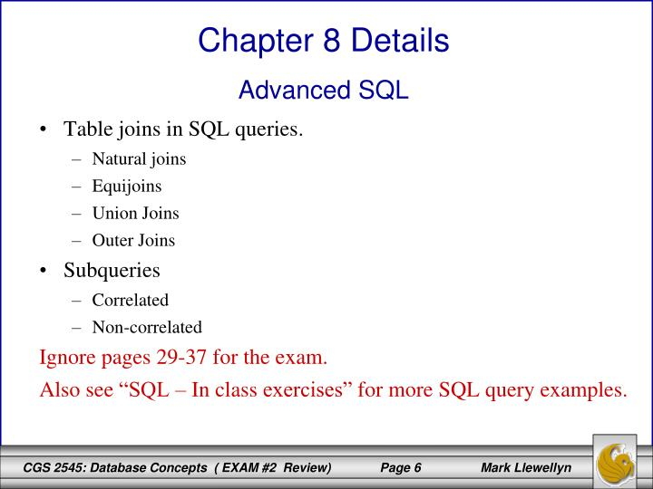 Table joins in SQL queries.