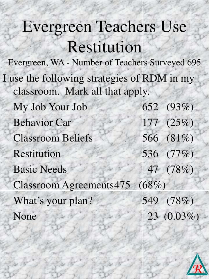Evergreen Teachers Use Restitution
