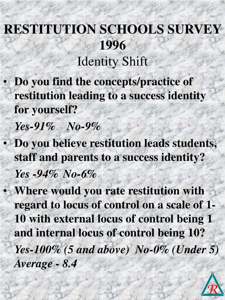 RESTITUTION SCHOOLS SURVEY 1996