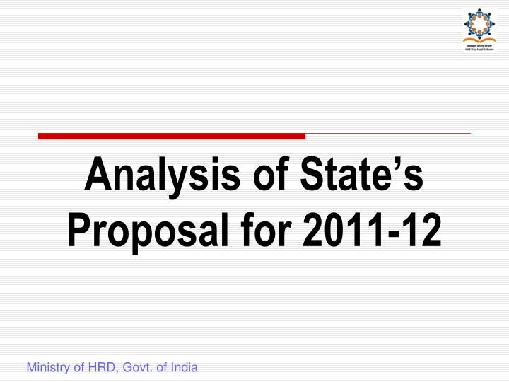 Analysis of State's Proposal for 2011-12