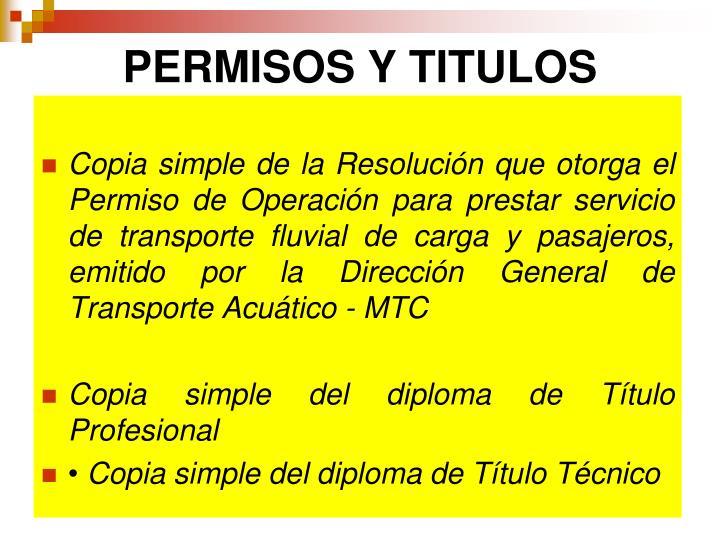 PERMISOS Y TITULOS