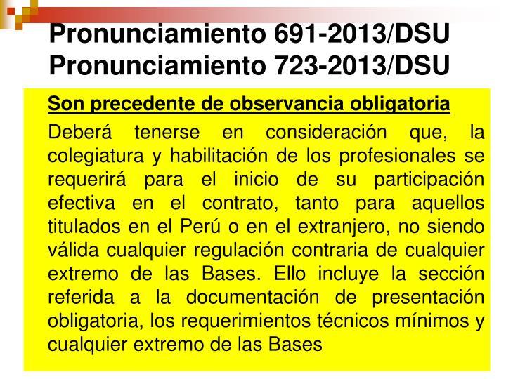 Pronunciamiento 691-2013/DSU