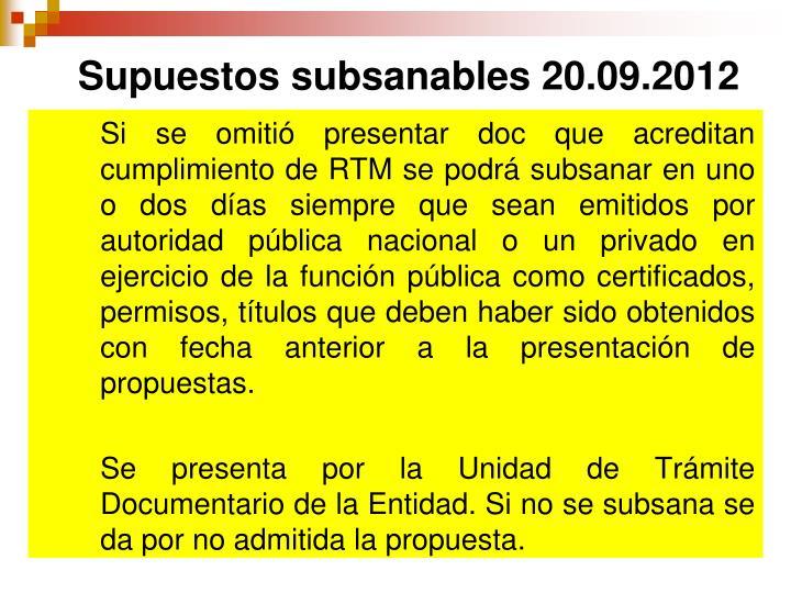 Supuestos subsanables 20.09.2012
