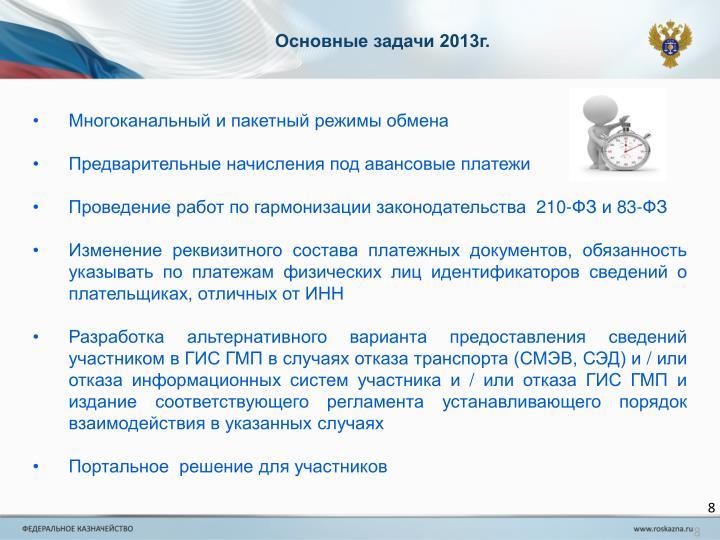 Основные задачи 2013г.
