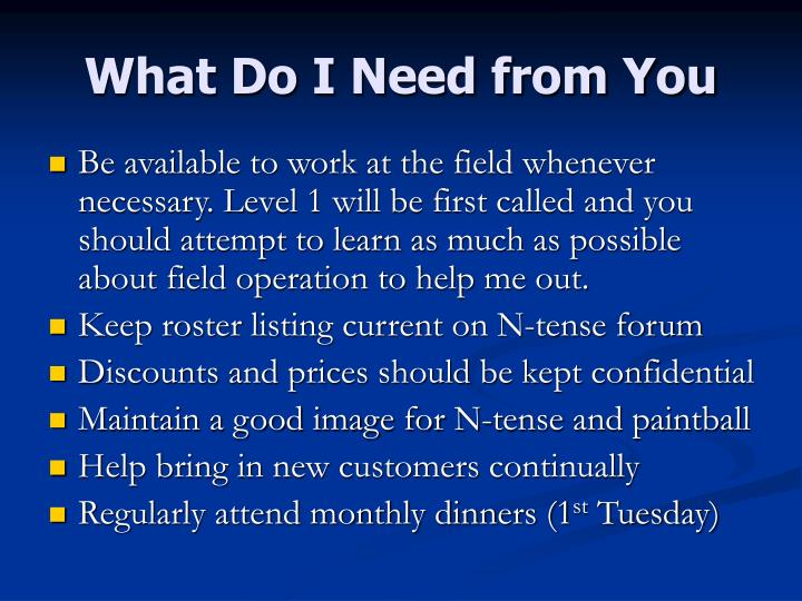 What Do I Need from You
