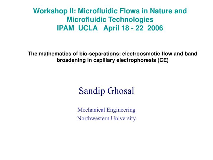 Workshop II: Microfluidic Flows in Nature and Microfluidic Technologies