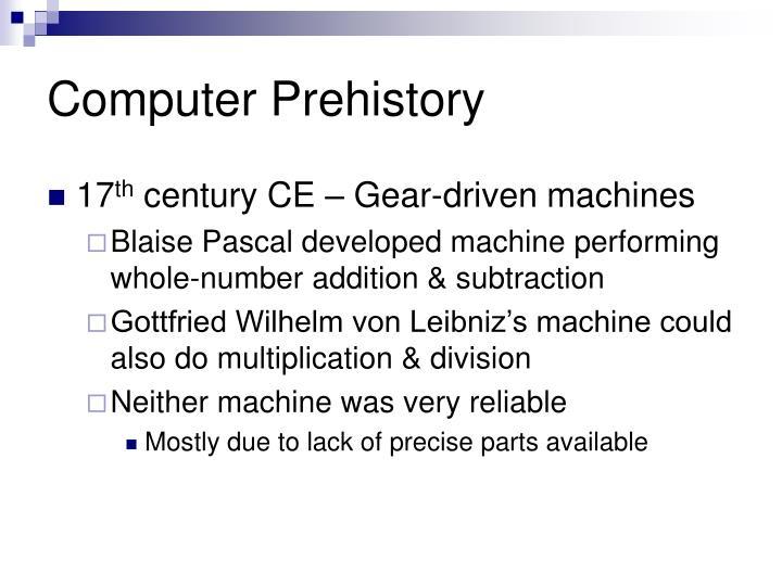 Computer Prehistory