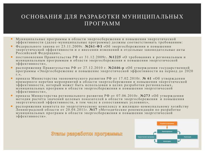 Основания для разработки муниципальных Программ