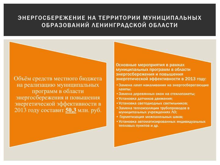 Энергосбережение на территории муниципальных образований Ленинградской области