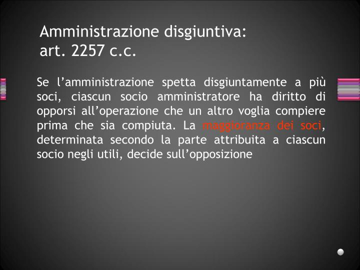 Amministrazione disgiuntiva: